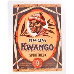 VINTAGE KWANGO RUM ADVERTISING LABEL