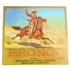 VINTAGE BRONCO ORANGE CRATE ADVERTISING LABEL