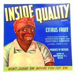 VINTAGE BLACK AMERICANA INSIDE QUALITY CITRUS LABEL W/ MAMMY
