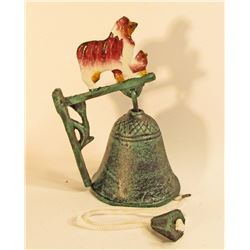 CAST IRON COLLIE DOG WALL MOUNT RINGER BELL