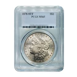 1878 $1 Morgan Silver Dollar 8 Tail Feather PCGS MS65