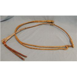 Rawhide roping reins with romal, four strand braid