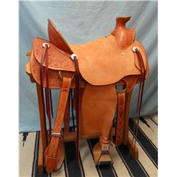 "James Morris, 16.5"", Wade tree, flat plate rig, 6"" bell stirrups, stamped & tooled, rough out seat &"