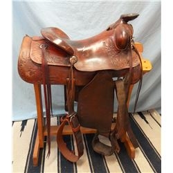 "Thomas Saddlery, Preston, ID, 15.5"", stock saddle, in-skirt 3/4 rigging"