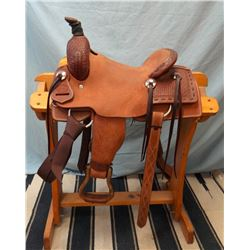"SRS Saddlery, Pilot Point, TX, 13"", junior cutter, double rig, buckstitch, basket stamp"