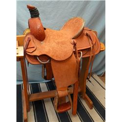 "Sante Fe, 13"", junior roper, double rig, rawhide wrapped cantle, basket stamp, rough out seat & fend"