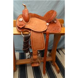 "Morris Saddlery, 12"", barrel saddle, stamped & carved, arrow stamp border, rough out fenders,  padde"