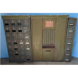 "U.S. postal mail boxes, from Ft. Shaw Post Office, vintage, 3 sections, 33""w, 25""w & 7""w, all 47""h x"