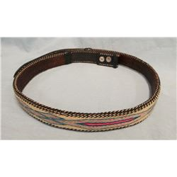 Hitched horsehair belt, prison made, multi-colored,