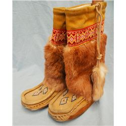 Rabbit fur beaded moccasins
