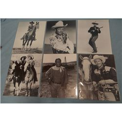 Asst'd movie photos, Roy Rogers, John Wayne, Tom Mix, etc. (6)