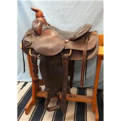 "Simco, 15.5"", roping saddle, double rig"