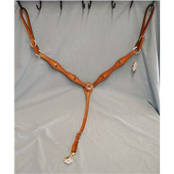 Cowperson Tack breast collar - light colored, star theme