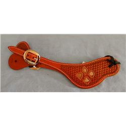 Stitched spur straps with basket weave stamp and hide inlay, new!