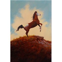 "C. R. Cheek oil painting, Monarch of the Plains, 18"" h x 12"" w"
