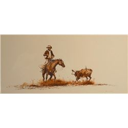 "Dick Rienstra sepia tone, Cutting Cattle, 9.5"" x 19"", framed"