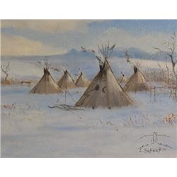 "Elmer Shock oil on canvas, teepees, 1971, 8"" x 10"", framed"