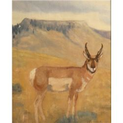 "Les Peters watercolor, ""Crown Butte Buck,"" 8"" x 10"", framed"