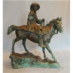 "Bob Scriver (dec., Browning, Mont.) bronze, ""Buffalo Hunter,"" 1960"