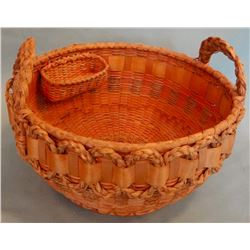 Micmac Sweet grass handled basket, braided handles & decoration, inner side basket, ca. 1930's, comp