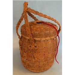 Great Lakes area tribe tapered double handled yarn basket, splint ash with hand twisted cording, dou
