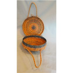 Great Lakes area tribe flat circular double handled sewing basket, cadet blue, sweet grass & splint