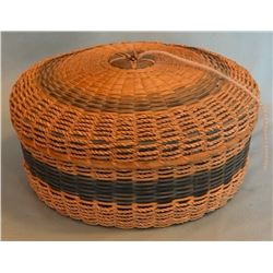 Great Lakes area tribe cadet blue lidded sewing basket, 6 pt. star in lid, splint ash, sweet grass &