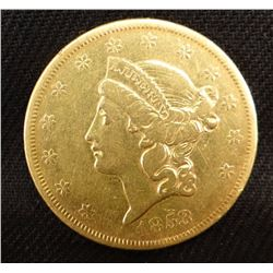 1853 Liberty Head $20 gold piece