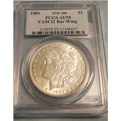 1889 Morgan, PCGS AU 55, Vam 22 Bar Wing, Top 100, rare