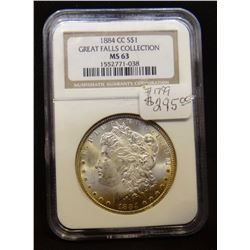 1884 CC Morgan NGC MS 63