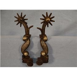 G. S. Garcia silver inlaid spurs, #25 catalog pattern, belonged to Clara Mosby, Mosby, MT. Rare.
