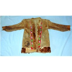 Man's coat, moose hide, possibly Obijwe or Cree, hand sewn moose with beaver trim front lapels, frin