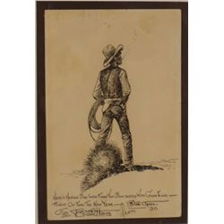 Will James Holiday greeting card, inscribed & signed to Bill Hays, from Bill James, 1930, framed.