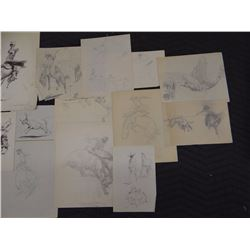 Collection of Will James charcoal sketches, prospectors & burrows, from the Virginia Snook Estate, B
