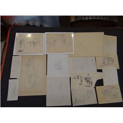 Collection of Will James sketches, Steer Roper sequence, from the Virginia Snook Estate, Billings, M