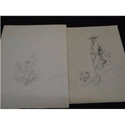"""2 Will James drawings, one signed with III, one initialed W. J., 5"""" x 6"""" and 8"""" x 10"""", unframed"""