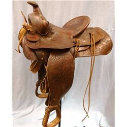 "Miles City Saddlery saddle, #73X, 14"", marked 123 46 behind cantle"