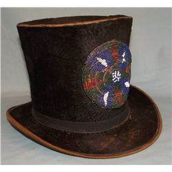 "Sioux beaded top hat, rosette beaded front panel, beaver hat made by Waters & Co. of NY – 6.5"" x 10"""