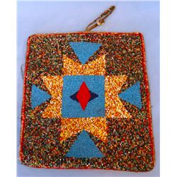 Blackfeet beaded four directional bag, , random beading, wool army blanket back, mixed beads from Fo