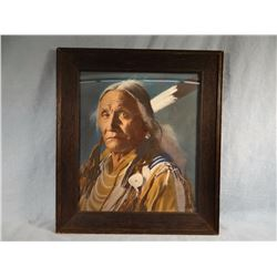 L.A. Huffman, chief portrait, hand-tinted print, contemporary