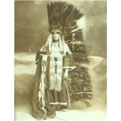 """D.F. Barry original photo,""""Lilly Carlin in Lakota Clothing"""" (Barry's Daughter), framed, 8.5"""" x 11"""""""