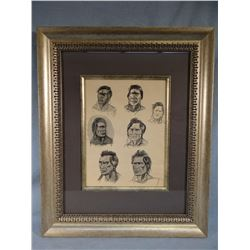 """O.C. Seltzer, group of 7 Indian Head Portraits, pen & ink washes, 12"""" x 9"""""""