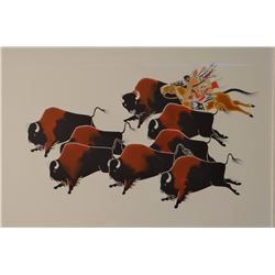 """Paul Goble watercolor, Indian Buffalo Hunt, 9"""" x 13"""", with Goble's book, """"Return of the Buffaloes"""""""