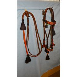 Hitched horsehair bridle, sinew knots, 7' round reins, 10 tassels, black, orange, red, yellow w/ gre