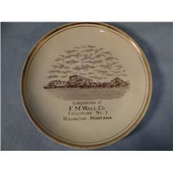"""Vintage Advertising plate, F. M. Wall Co., Roundup, MT, 7 1/2"""""""