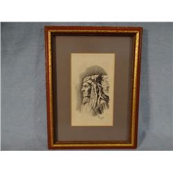 "C. Emerson pencil, Indian bust, 4.75"" x 2.75"""