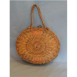 Great Lakes tribe splint ash oval purse or sewing basket, rare shape, multi-colored interior, double
