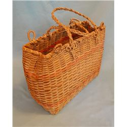 "Great Lakes tribe Large tote basket, splint ash, unusual size, ca. 1930's, 13"" x 5"""