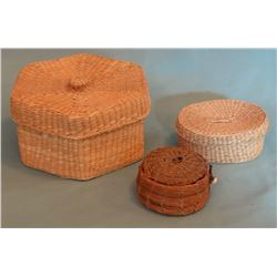 Great Lakes tribe Basket group of 3, assorted. Pine needle, sweet grass