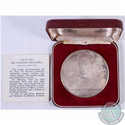 1874-1965 Sterling Silver Medallion featuring Rt. Hon Sir Winston Churchill. This Medal was issued a
